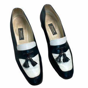 BALLY Vintage 'Liffy' Leather Dark Green/White Tassel Heeled Loafers Size 8.5